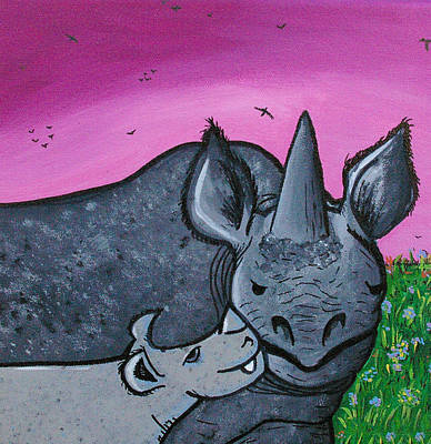 Family Love Drawing - Momma And Baby Rhino by Jera Sky