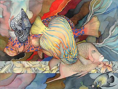 Angelfish Painting - Mon Coeur Est Le Blue Et Le Jaune by Liduine Bekman