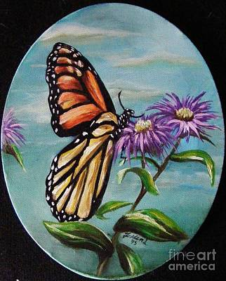 Art Print featuring the painting Monarch And Aster by Karen  Ferrand Carroll