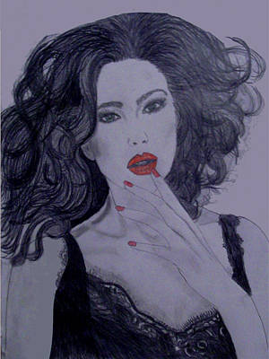 Woman Drawing - Monica Bellucci by De Beall