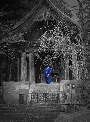 Pagoda Photograph - Monk And Bell by Naxart Studio