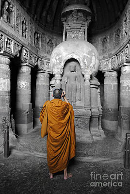 Monk At Ajanta Caves India Art Print