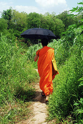 Monk Walking, Luang Prabang, Laos Art Print by Thepurpledoor