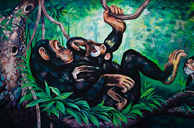 God Wallpapers Painting - Monkey Painting by Shattha Pilabut