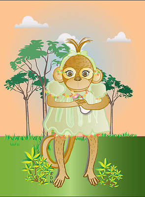 Digital Art - Monkhie Baby Girl- Green by Brenda Dulan Moore