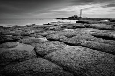 Mono Shot Of Northumbrian Lighthouse Art Print
