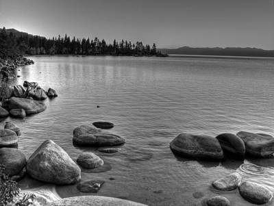 Sierra Nevada Fall Colors Photograph - Monochrome Lake Tahoe Sunset by Scott McGuire