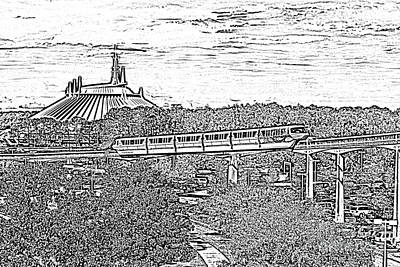 Digital Art - Monorail And Space Mountain Magic Kingdom Walt Disney World Prints Black And White Photocopy by Shawn O'Brien