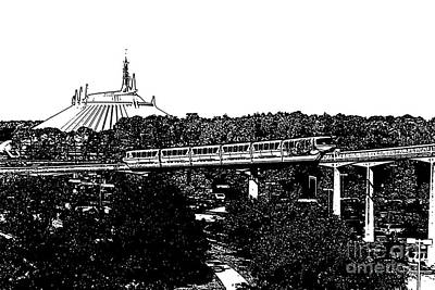 Digital Art - Monorail And Space Mountain Magic Kingdom Walt Disney World Prints Black And White Stamp by Shawn O'Brien
