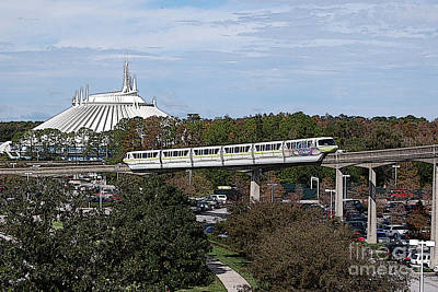 Digital Art - Monorail And Space Mountain Magic Kingdom Walt Disney World Prints Poster Edges by Shawn O'Brien