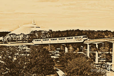 Photograph - Monorail And Space Mountain Magic Kingdom Walt Disney World Prints Rustic by Shawn O'Brien