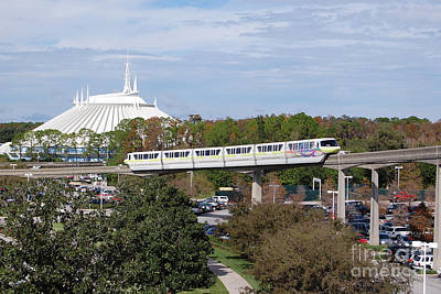 Photograph - Monorail And Space Mountain Magic Kingdom Walt Disney World Prints by Shawn O'Brien