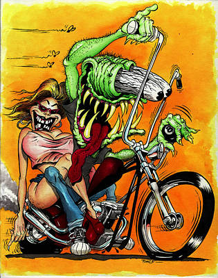 Chopper Drawing - Monster Bike by Jon Towle
