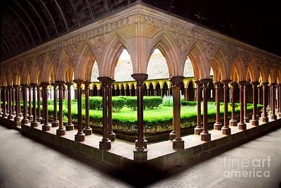 Mont Saint Michel Cloister Garden Art Print