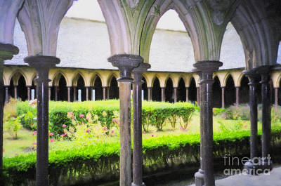 Digital Art - Mont St Michel Prayer Garden by Donna L Munro