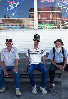 Photograph - Montana Bench Boys by Lorraine Devon Wilke