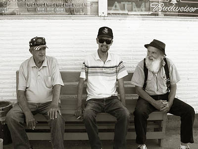 Photograph - Montana Bench Boys Part II by Lorraine Devon Wilke