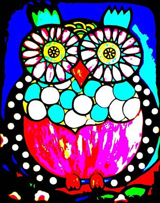 Black And White Owl Painting - Montee Posterized by Amy Carruth-Drum