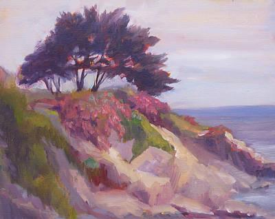 Cypress Trees Painting - Monterey Coastal Cypress by Deirdre Shibano