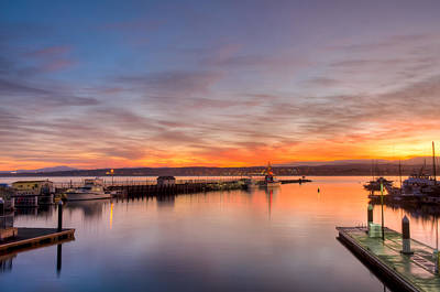 Photograph - Monterey Sunrise Calm Harbor by Connie Cooper-Edwards