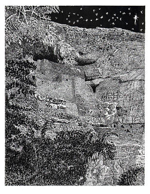 Drawing - Montezuma Castle  by Jack Pumphrey