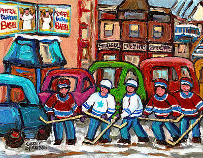 Montreal Bagels And Hockey Art Print by Carole Spandau