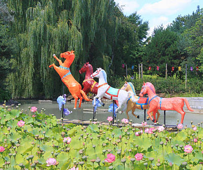 Montreal Botanical Gardens - Chinese Horses Art Print