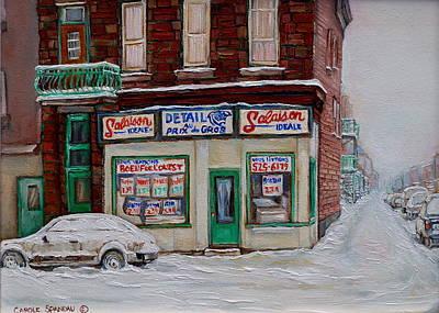 Montreal Storefronts Painting - Montreal Corner Market Winter Scene by Carole Spandau