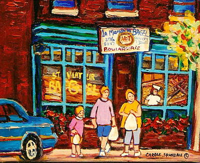 Montreal Street Life Painting - Montreal Landmarks Paintings The Bagel Shops by Carole Spandau