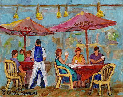 Montreal Restaurants Painting - Montreal Outdoor Terrace Cafe City Scene by Carole Spandau
