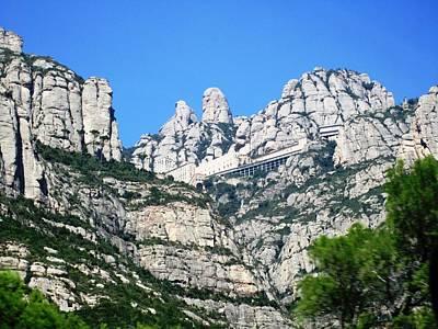 Photograph - Montserrat Monastery Panoramic Mountain View Blue Sky Near Barcelona Spain by John Shiron
