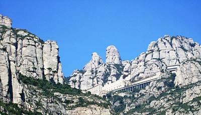 Photograph - Montserrat Monastery Panoramic Mountain View II Blue Sky Near Barcelona Spain by John Shiron