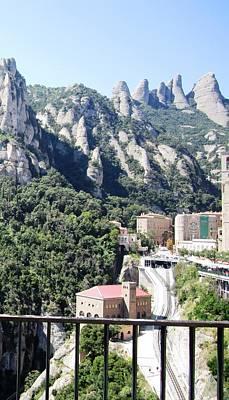 Photograph - Montserrat Mountain Top Rail Way Tram View Near Barcelona Spain by John Shiron