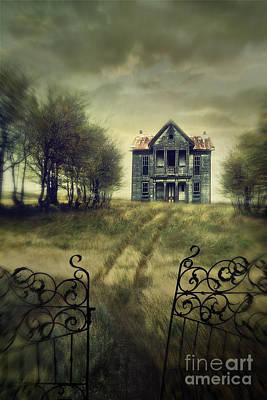 Photograph - Moody Fall Scene With Farm House On A Hill by Sandra Cunningham