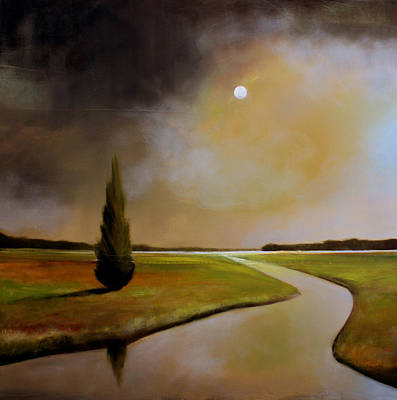 Tonalist Painting - Moody River by Toni Grote