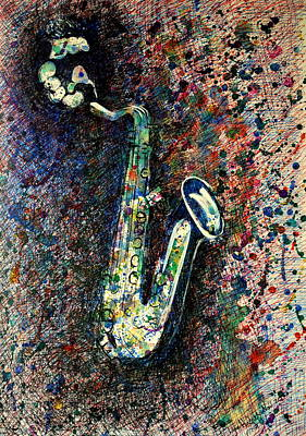 Drawing - Moody Sax by Lynn Hughes