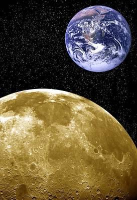 Moon And Earth, Artwork Art Print