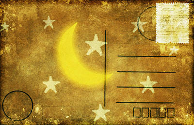 Moon And Star Postcard Art Print by Setsiri Silapasuwanchai
