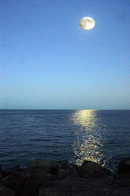 Moon And Water Art Print by Chris Boulton