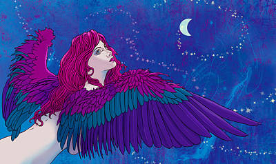 Moon Digital Art - Moon Angel by Vincent Danks