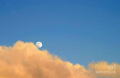 Moon At Sunset Art Print