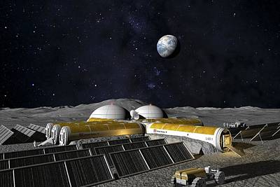 Earth Based Photograph - Moon Base, Computer Artwork by Chris Butler