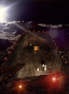 Digitally Manipulated Photograph - Moon Base Construction by Richard Kail