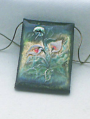 Hand Painted Pendant Jewelry - Moon Flower From Chinese Scrolls Series by Asya Ostrovsky