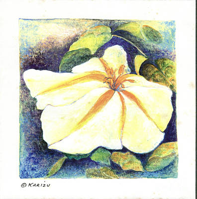 Drawing - Moon Flower by Karin Zukowski