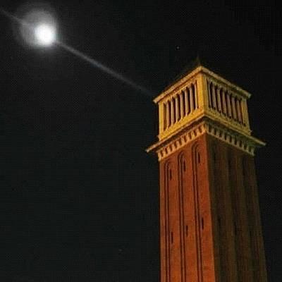 Moon In Placa D'espanya, Barcelona Art Print
