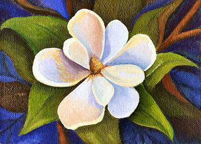 Moon Light Magnolia Art Print by Elaine Hodges