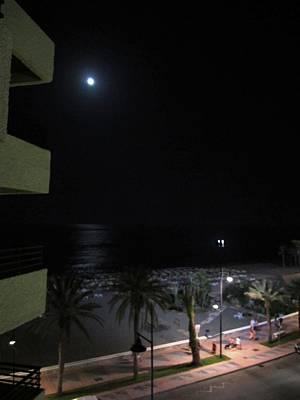 Photograph - Moon Light Reflection At Night Costa Del Sol Beach Spain by John Shiron