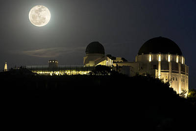 Moon Over Griffith Observatory Print by Mike Herdering