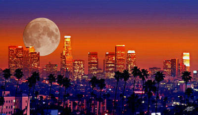 Digital Art - Moon Over Los Angeles by Steve Huang